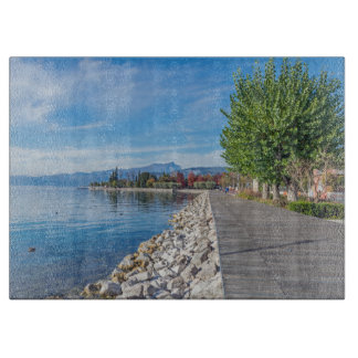 Autumn on Lake Garda glass Cutting Board