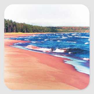 Autumn On Lake Superior Square Sticker