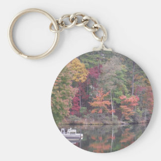 Autumn on smaller lake Lake Arrowhead Key Chains