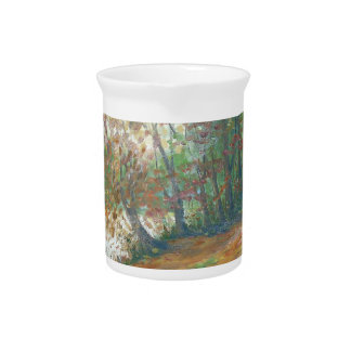 Autumn on the river beverage pitcher