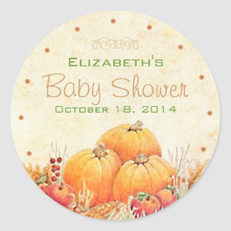 Autumn or Fall Baby Shower Guest Favor Round Sticker