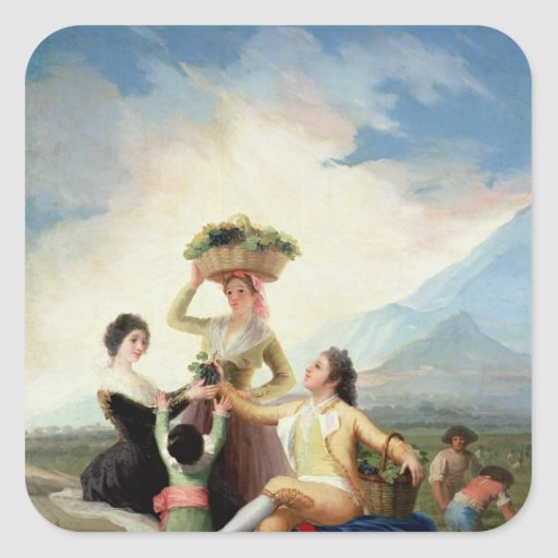 Autumn, or The Grape Harvest, 1786-87 Square Stickers