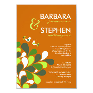 Autumn Orange and Lime Green Wedding Invitations