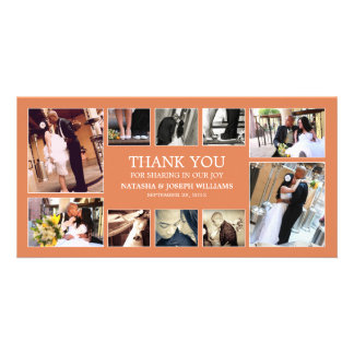 AUTUMN ORANGE COLLAGE | WEDDING THANK YOU CARD PICTURE CARD