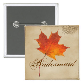 Autumn Orange Fall in Love Leaves bridesmaid 15 Cm Square Badge