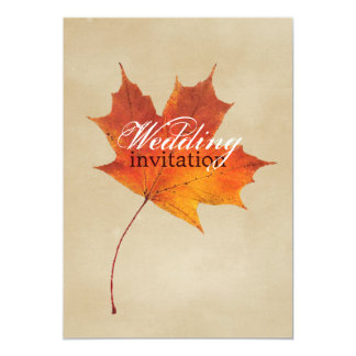 Autumn Orange Fall in Love Leaves Wedding Card