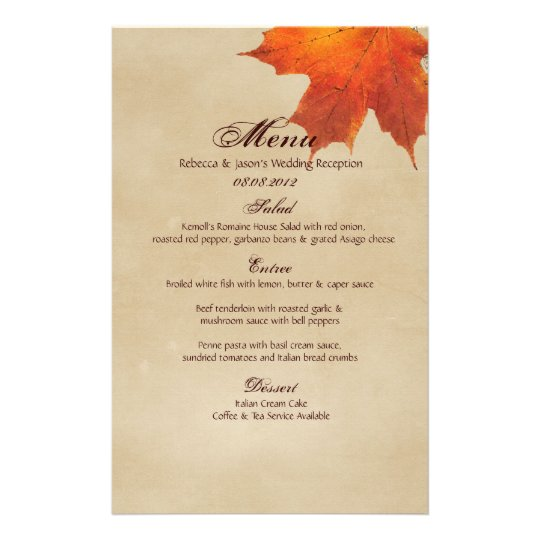 Autumn Orange Fall in Love Leaves Wedding Custom