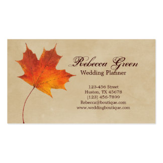 Autumn Orange Fall in Love Leaves Wedding Pack Of Standard Business Cards