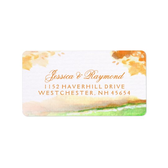 Autumn Orange & Gold Wedding Address Labels