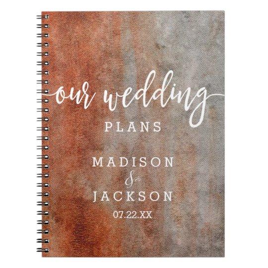 Autumn Orange Grey Watercolor Wedding Planner Notebook