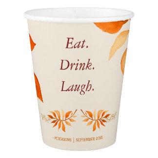 Autumn orange rust leaves eat drink laugh party paper cup
