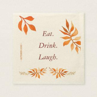 Autumn orange rust leaves eat drink laugh party paper napkin