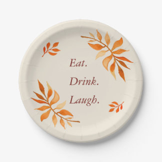 Autumn orange rust leaves eat drink laugh party paper plate