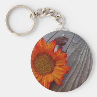 Autumn Orange Sunflower Blossom Basic Round Button Key Ring