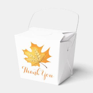 Autumn Orange Thank You Leaf Rustic Wedding Favour Box