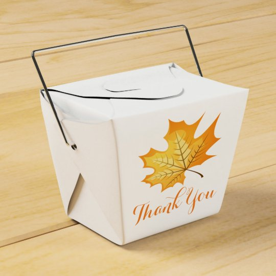 Autumn Orange Thank You Leaf Rustic Wedding Favour