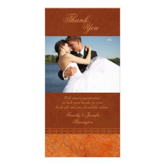 Autumn orange vintage elegant wedding thank you personalized photo card