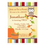 Autumn Owl and Pumpkin Birthday Party Invitation