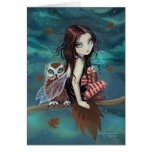 Autumn Owl Cute Gothic Faerie and Owl Art Cards