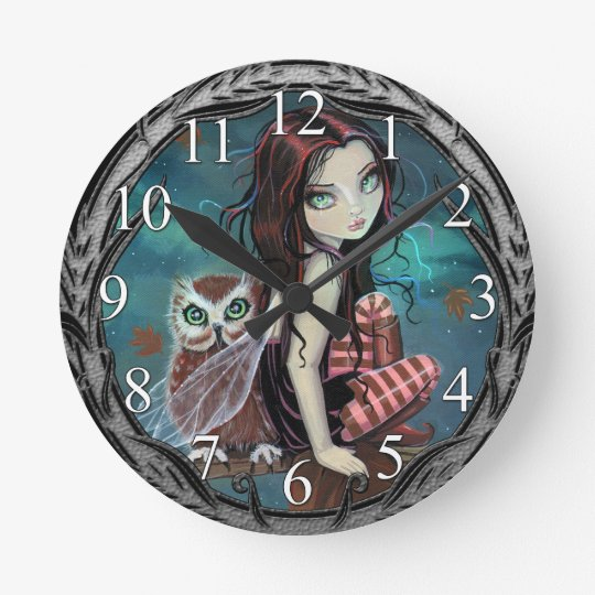 Autumn Owl Fairy Fantasy Art Wall Clock