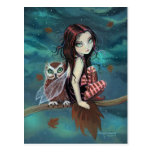 Autumn Owl Gothic Fantasy Fairy and Owl Postcard