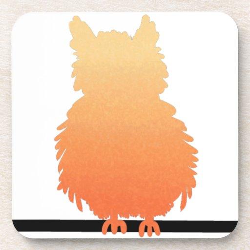 Autumn Owl Silhouette Drink Coasters