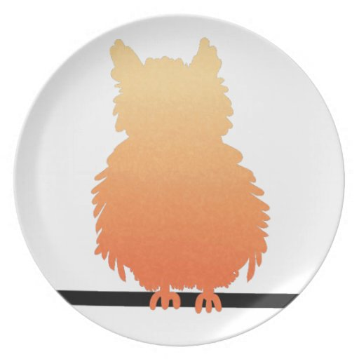 Autumn Owl Silhouette Dinner Plates