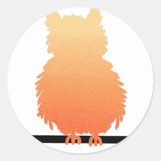 Autumn Owl Silhouette Round Sticker