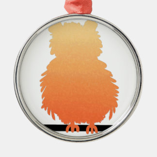 Autumn Owl Silhouette Silver-Colored Round Decoration