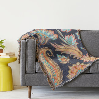 Autumn Paisley Pattern Throw Blanket