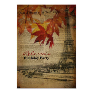autumn paris french vintage birthday party 9 cm x 13 cm invitation card