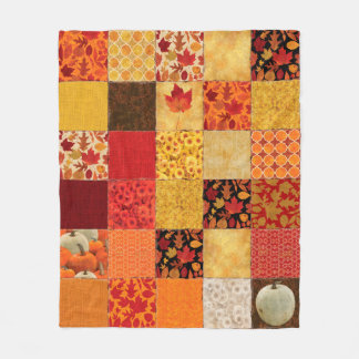 Autumn Patchwork Fleece Blanket
