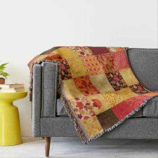Autumn Patchwork Throw Blanket
