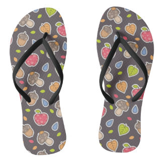 autumn pattern flip flops