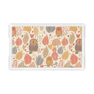 Autumn pattern. Owls in the forest Acrylic Tray