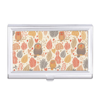 Autumn pattern. Owls in the forest Business Card Holder