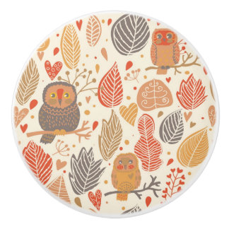 Autumn pattern. Owls in the forest Ceramic Knob