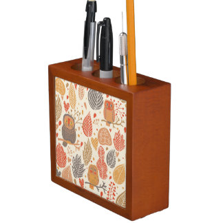 Autumn pattern. Owls in the forest Desk Organiser