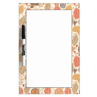 Autumn pattern. Owls in the forest Dry Erase Board