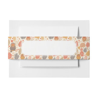 Autumn pattern. Owls in the forest Invitation Belly Band