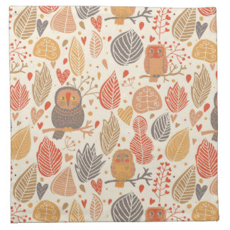 Autumn pattern. Owls in the forest Napkin