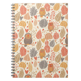 Autumn pattern. Owls in the forest Notebook