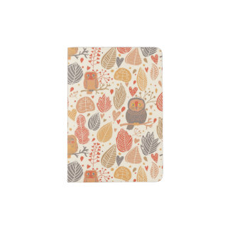 Autumn pattern. Owls in the forest Passport Holder