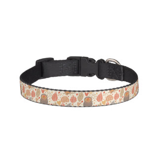 Autumn pattern. Owls in the forest Pet Collar