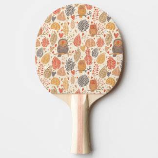 Autumn pattern. Owls in the forest Ping Pong Paddle