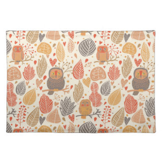 Autumn pattern. Owls in the forest Placemat