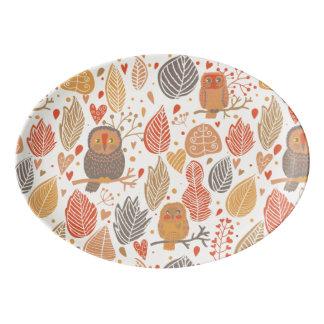 Autumn pattern. Owls in the forest Porcelain Serving Platter