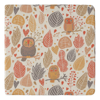 Autumn pattern. Owls in the forest Trivet