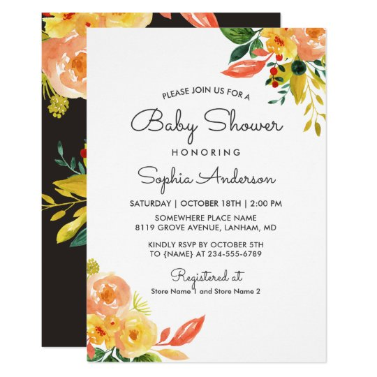 Autumn Peach Floral Adorable Fall Baby Shower Card