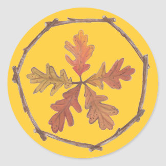 Autumn Pentagram Classic Round Sticker